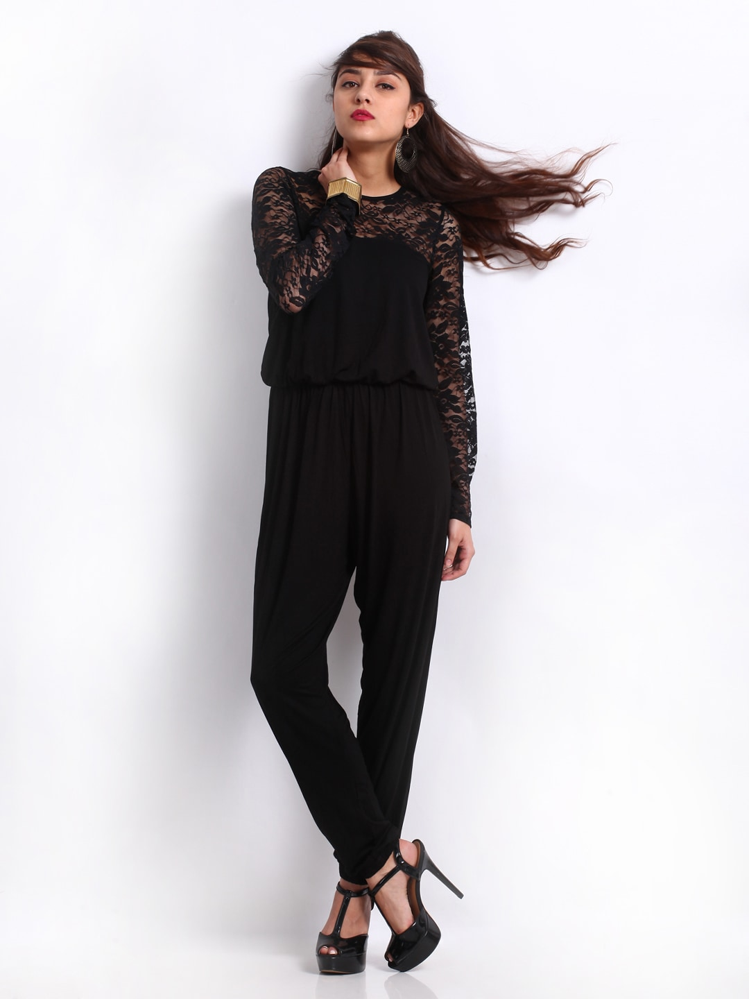 buy vero moda women black lace jumpsuit 421 apparel for women 242088. Black Bedroom Furniture Sets. Home Design Ideas