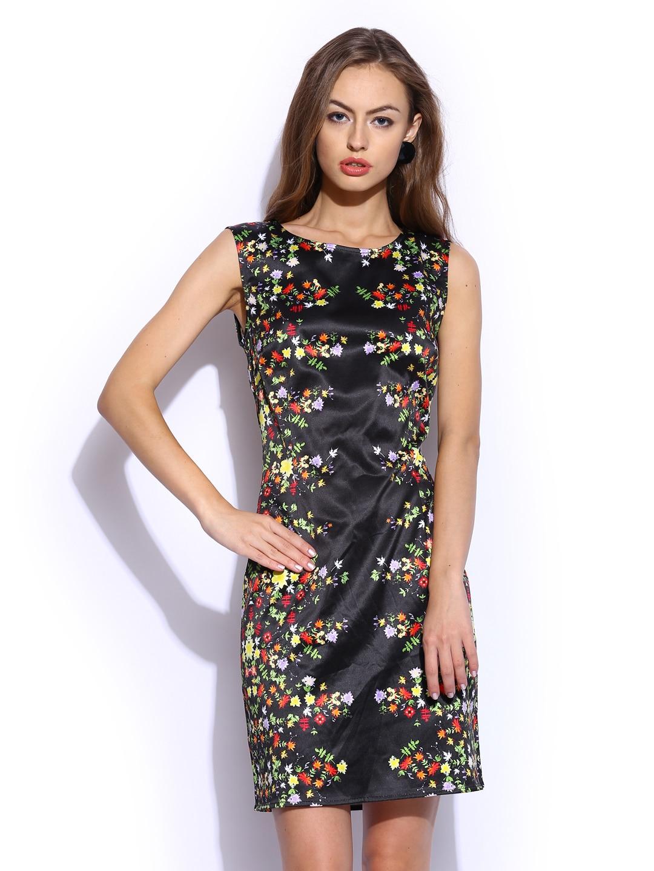 Vero Moda by Karan Johar Black Kaledio Printed Semiformal Shift Dress