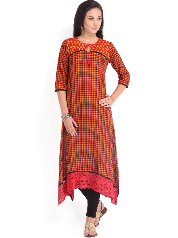 Vishudh Vishudh Women Black & Orange Checked Kurta (Multicolor)