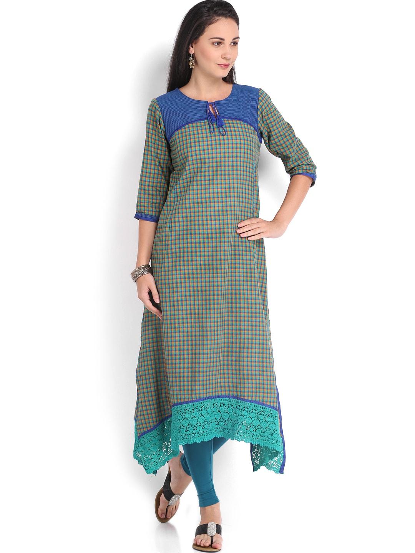 Vishudh Vishudh Women Blue & Orange Checked Kurta (Multicolor)