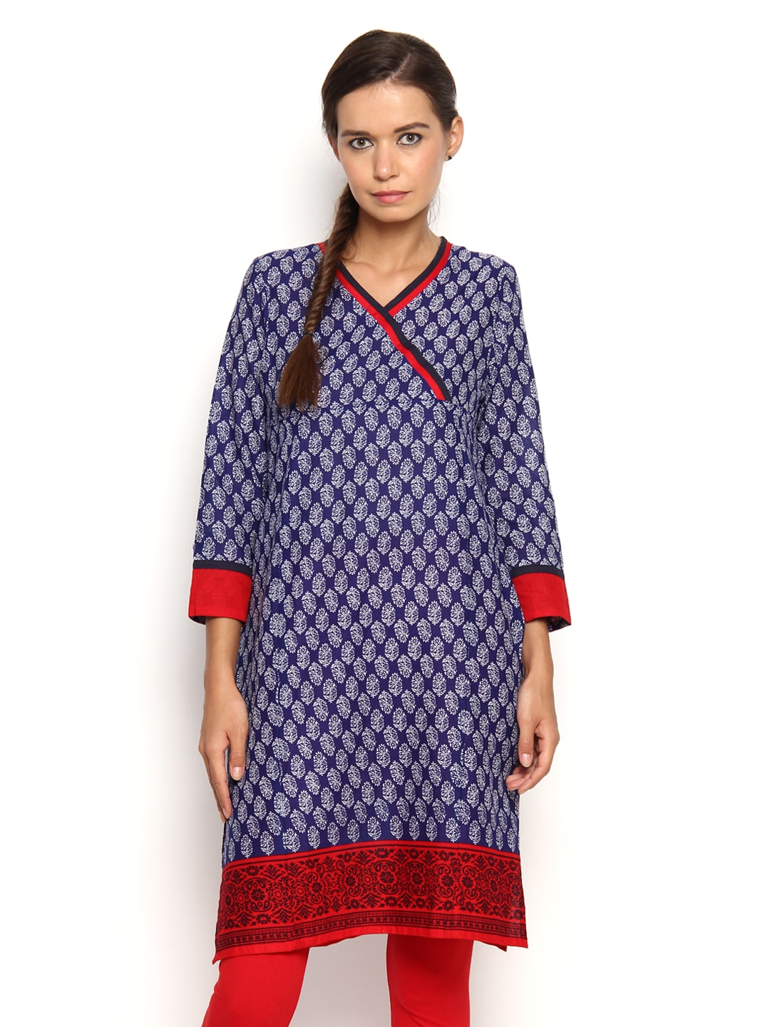 Vishudh Vishudh Women Blue & White Printed Kurta (Multicolor)