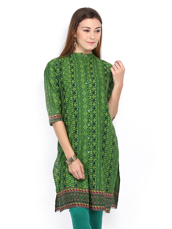 Vishudh Vishudh Women Green Printed Kurta