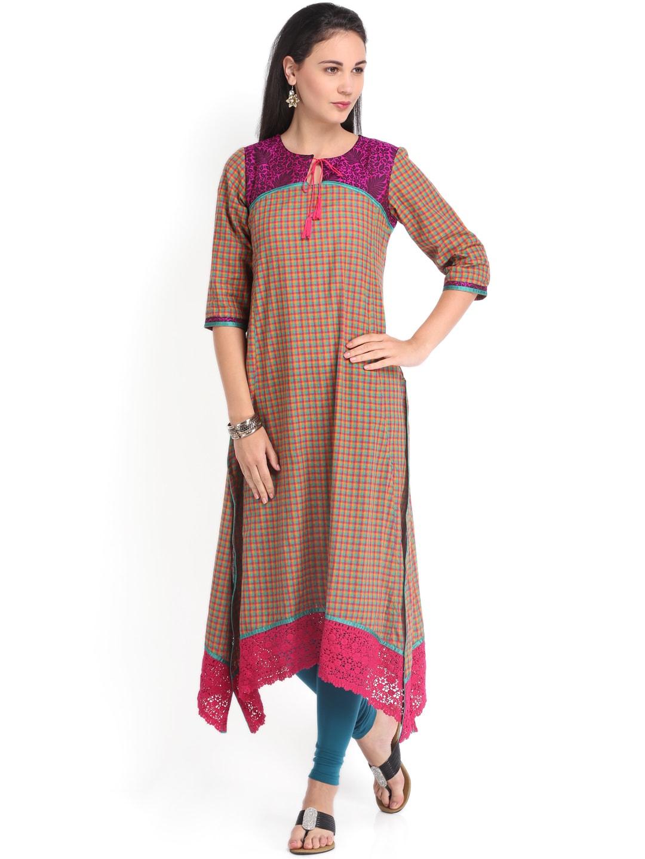 Vishudh Vishudh Women Pink & Green Checked Kurta (Multicolor)