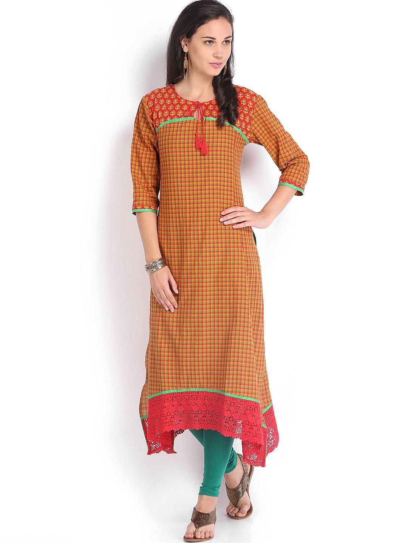 Vishudh Vishudh Women Red & Yellow Checked Kurta (Multicolor)