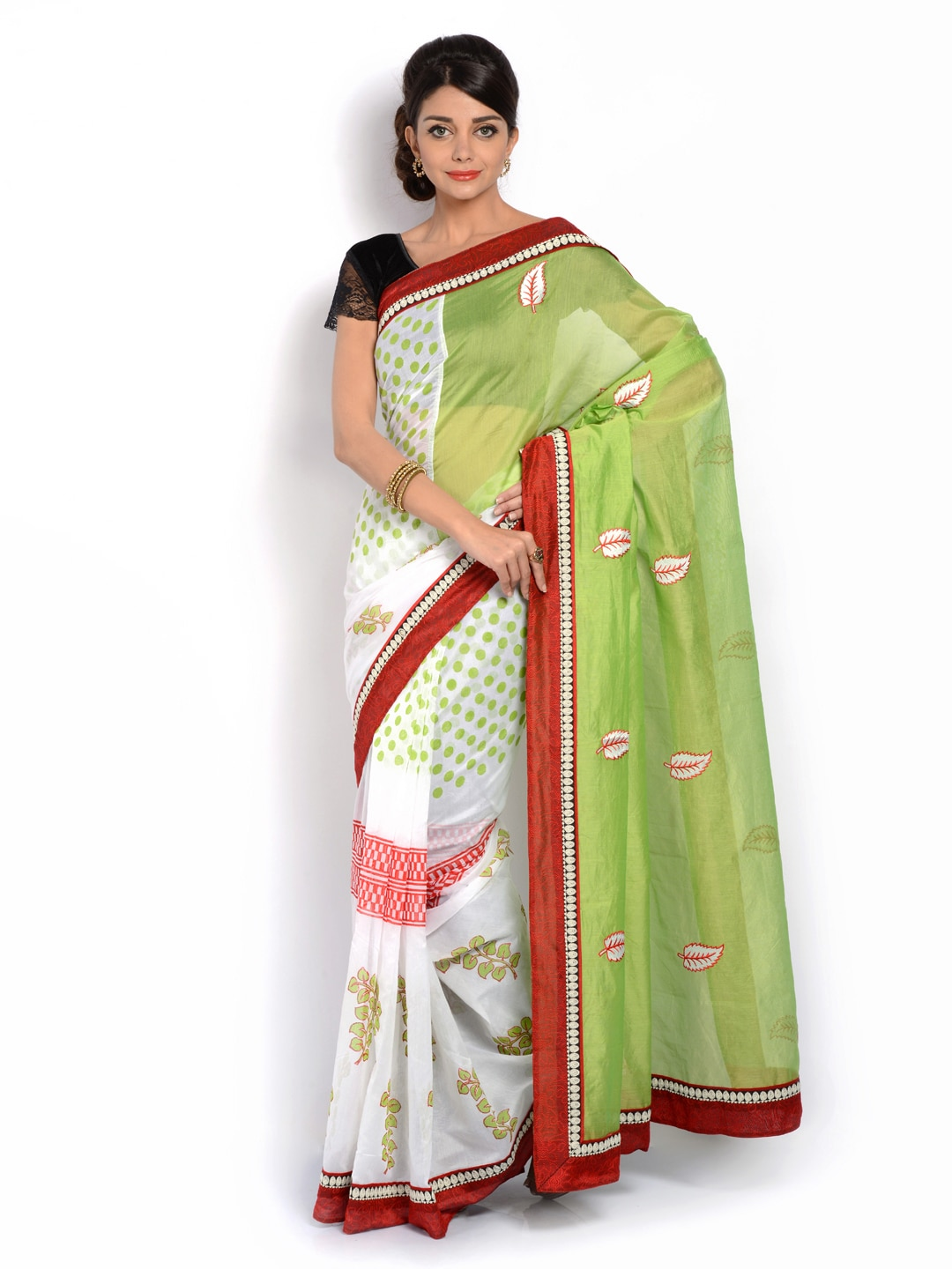 Vritika Green & Off-White Embroidered Cotton fashion Saree (multicolor)