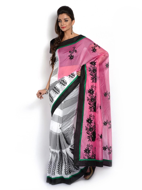 Vritika Pink & White Chanderi Cotton Fashion Saree (multicolor)