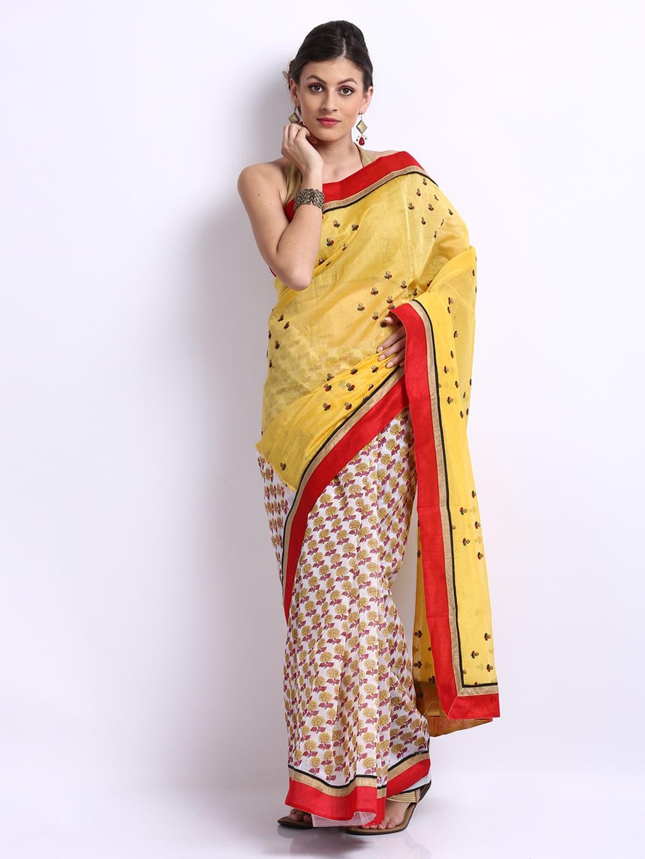 Vritika Yellow & White Printed Cotton Fashion Saree (multicolor)