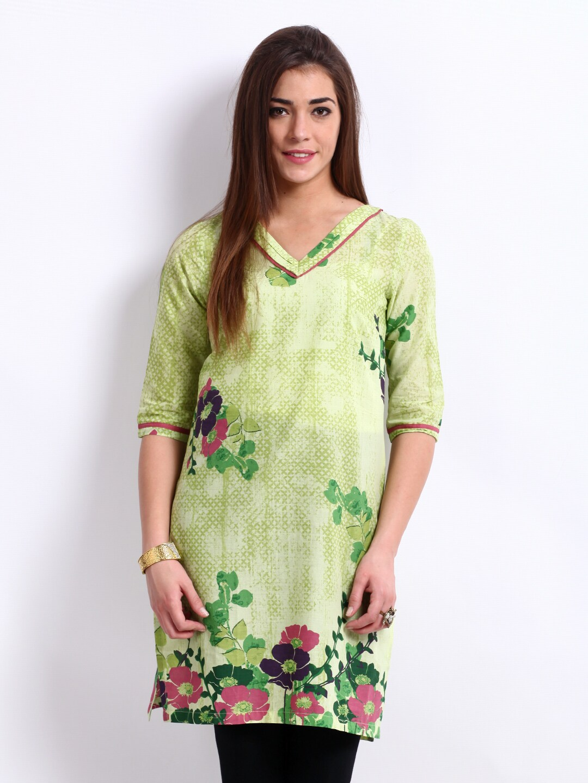 W Women Green Printed Kurta