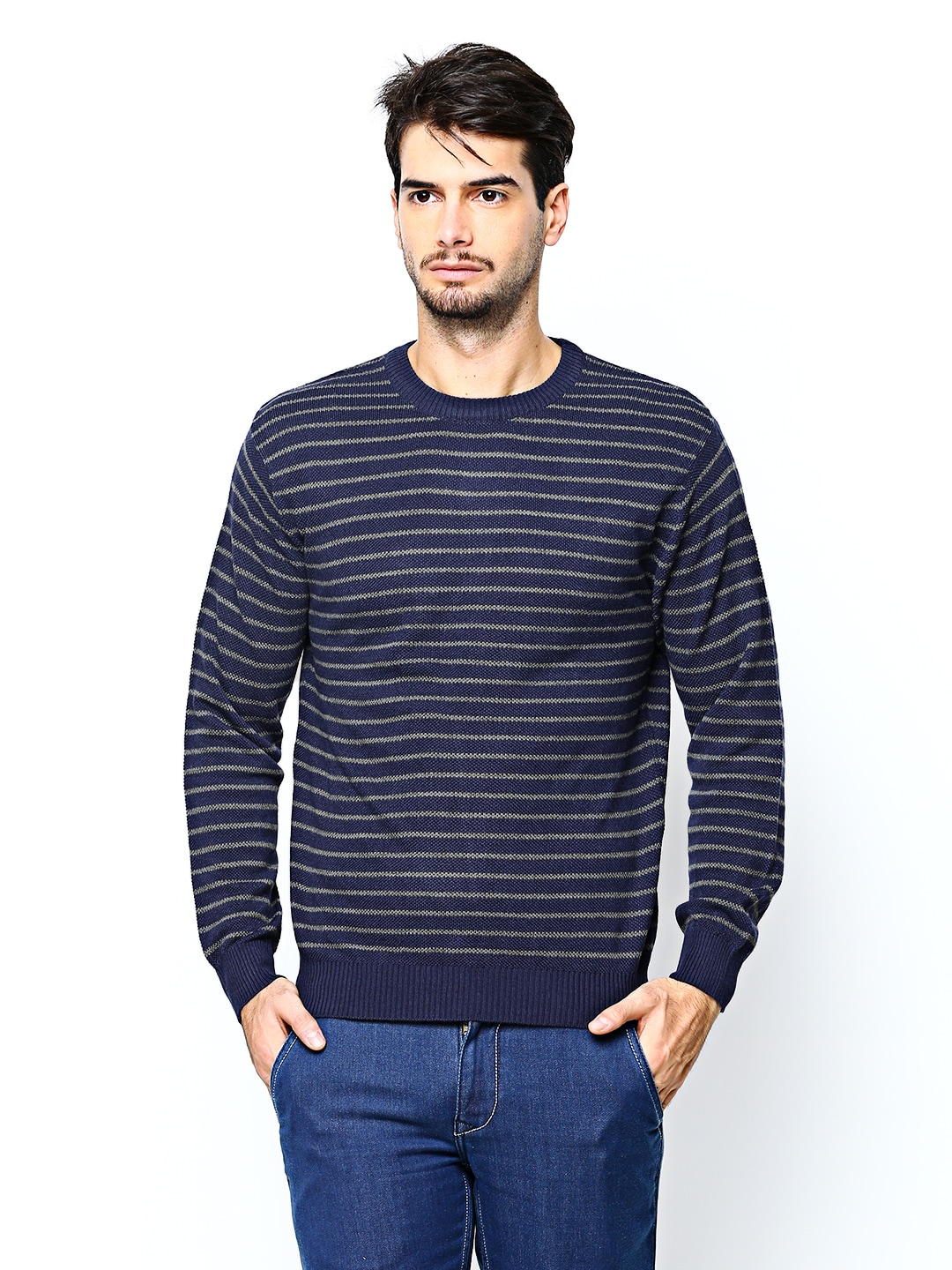 Wills Lifestyle Men Navy  Grey Striped Wool Blend Sweater