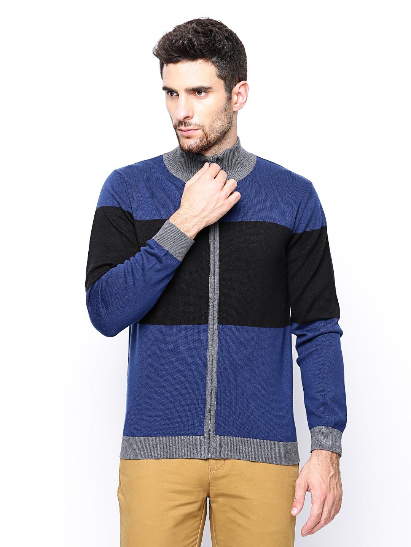 Wills Lifestyle Men Blue & Black Sweater