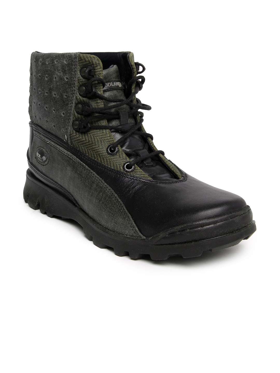 Woodland Men Black Leather Boots