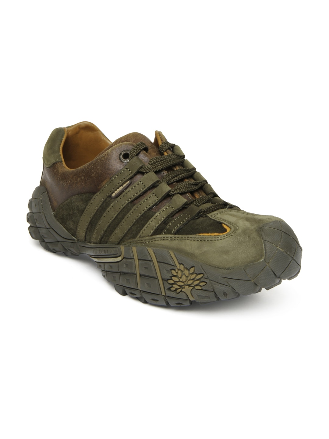 buy woodland olive green leather casual shoes casual