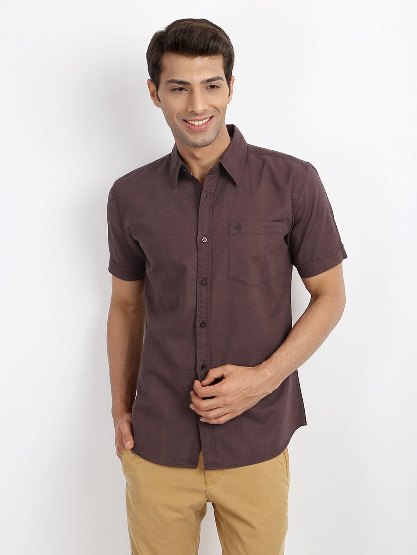 Wrangler Wrangler Men Dark Brown Linen Blend Casual Shirt (Multicolor)