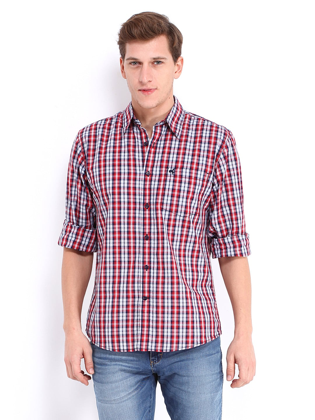 8dbfbcf1 Wrangler Men Red & White Checked Regular Fit Casual Shirt (multicolor)