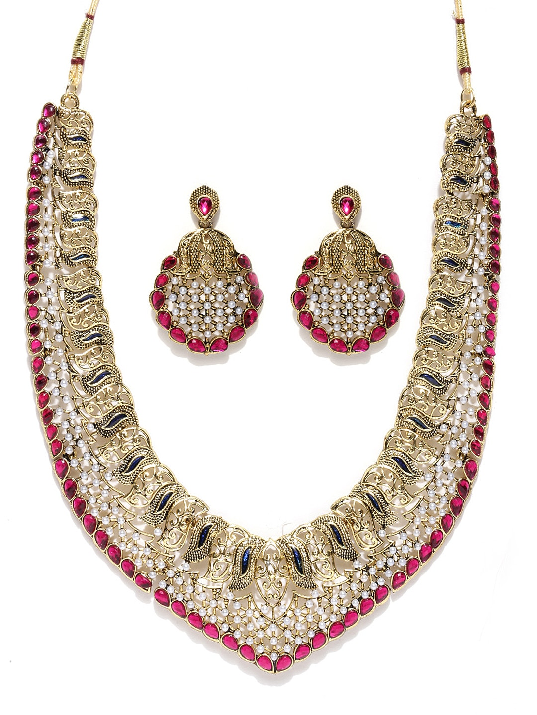 Zaveri Pearls Gold-Toned & Magenta Jewellery Set