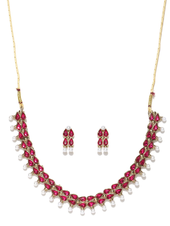 Zaveri Pearls Magenta & White Jewellery Set