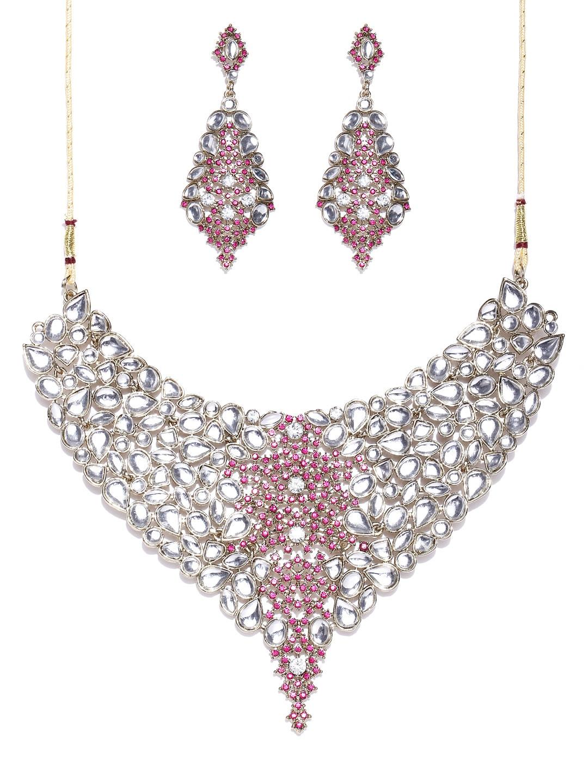 Zaveri Pearls White & Pink Jewellery Set