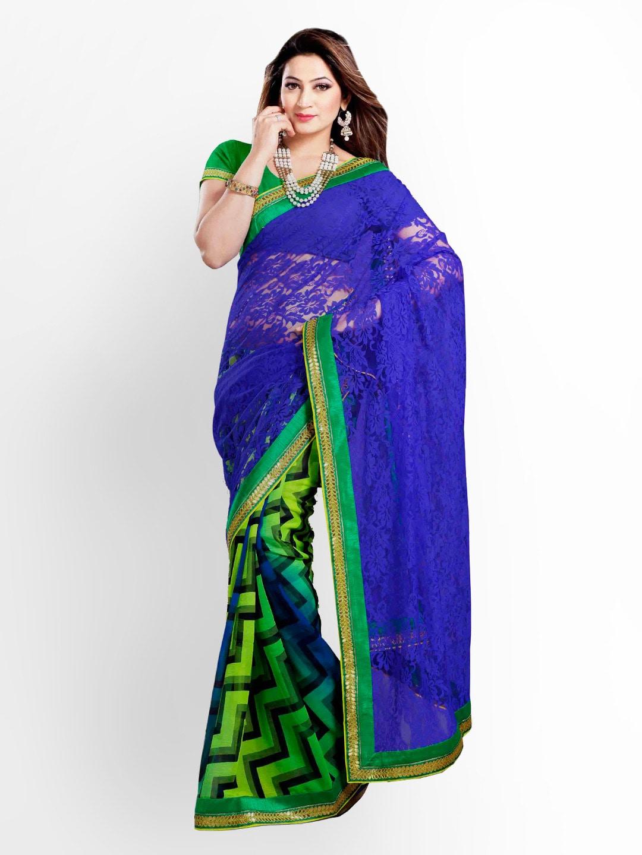 Zoom Blue & Green Georgette Fashion Saree (multicolor)