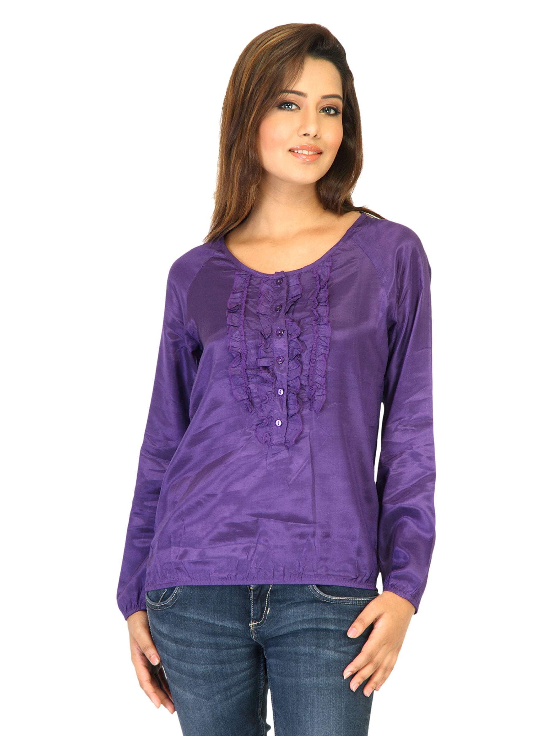 Flying Machine Women Solid Purple Tops