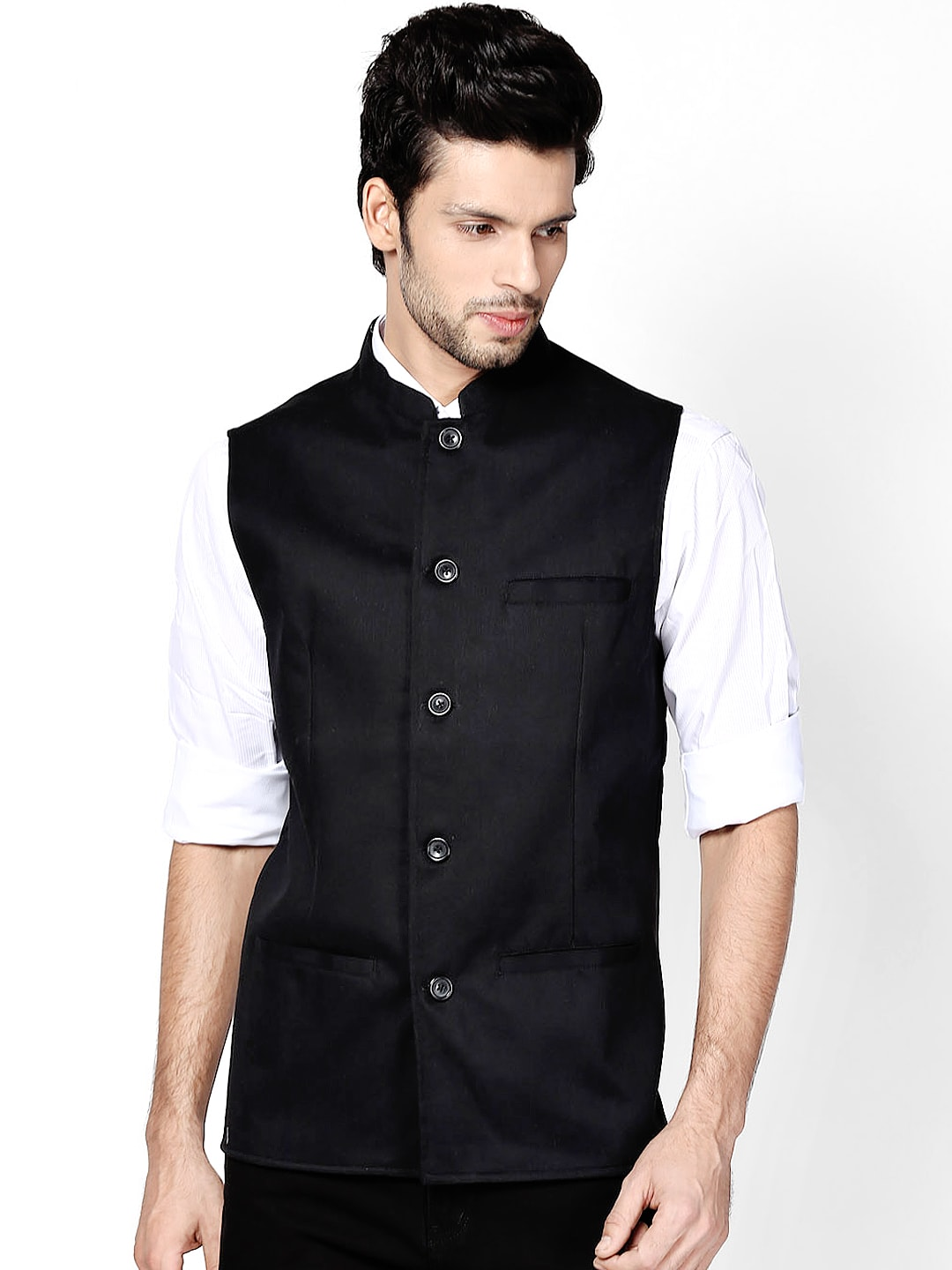 even Men Black Slim Fit Linen Nehru Jacket