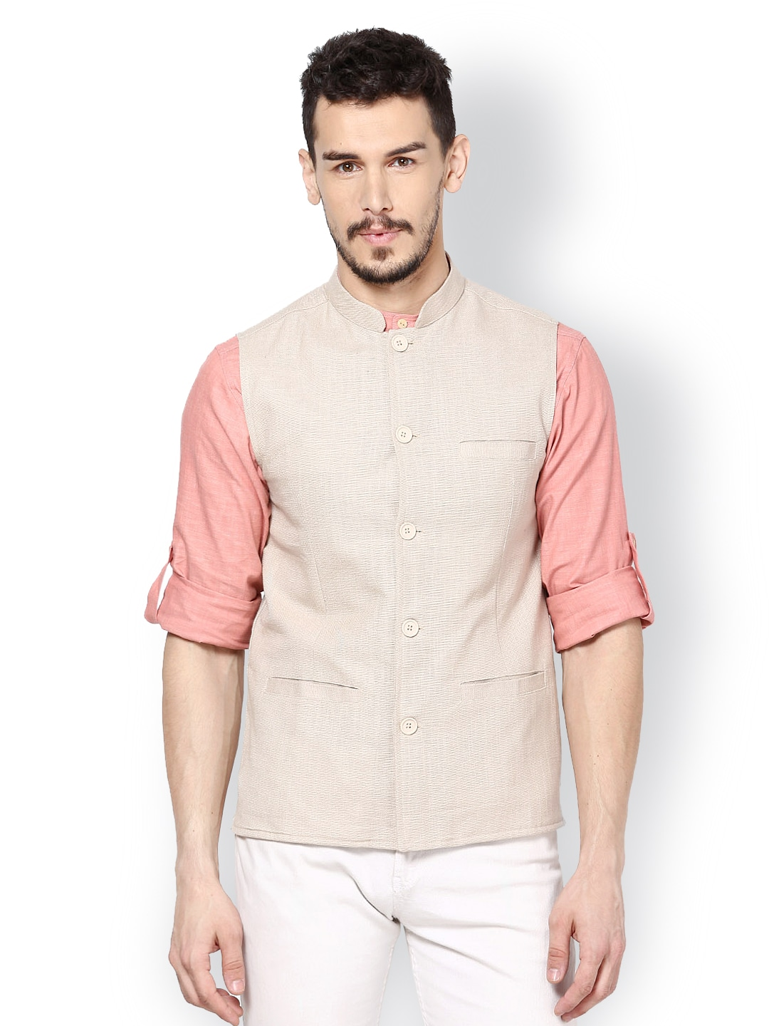 even Men Beige Slim Fit Nehru Jacket