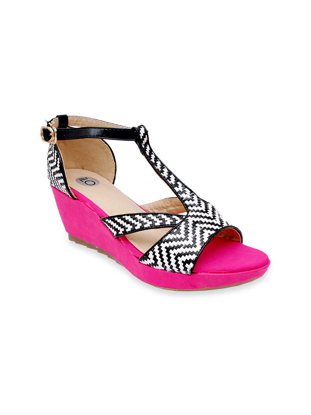 iLO Women Pink & Black Wedges (multicolor)