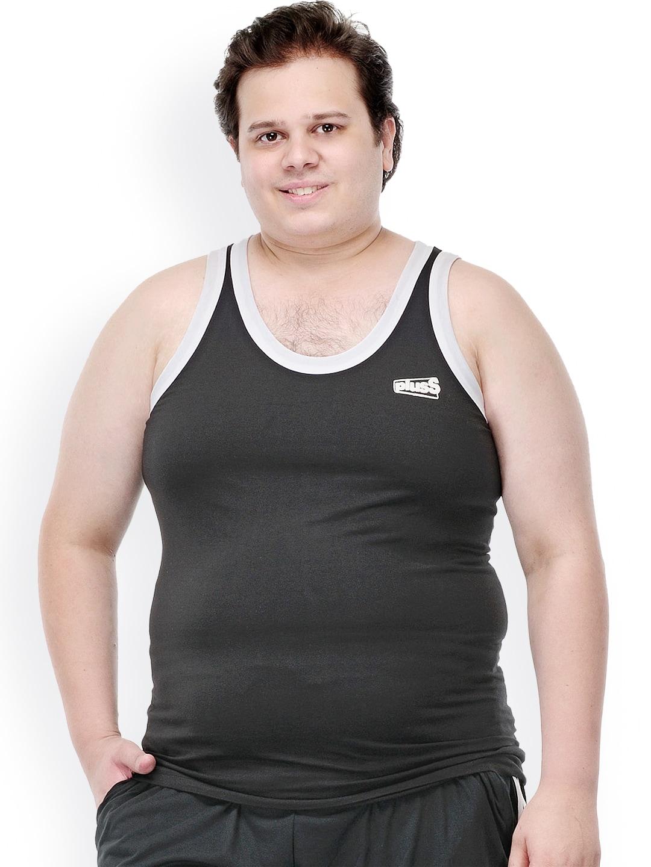 plusS Men Black Innerwear Vest MTSD326-BLACK