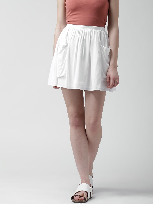 Buy FOREVER 21 Off White Flared Mini Skirt - Skirts for Women | Myntra