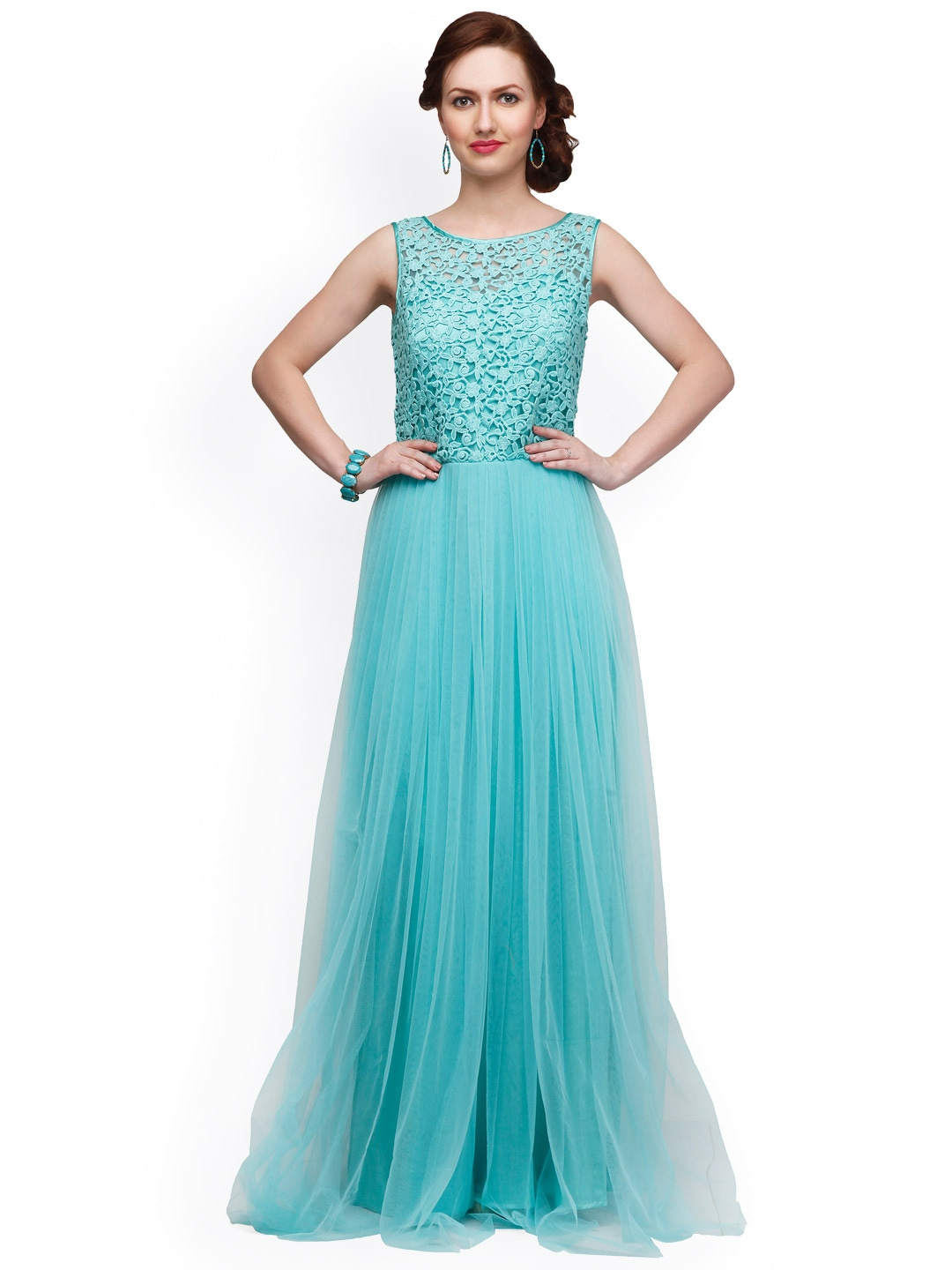 H m long dress light green mineral