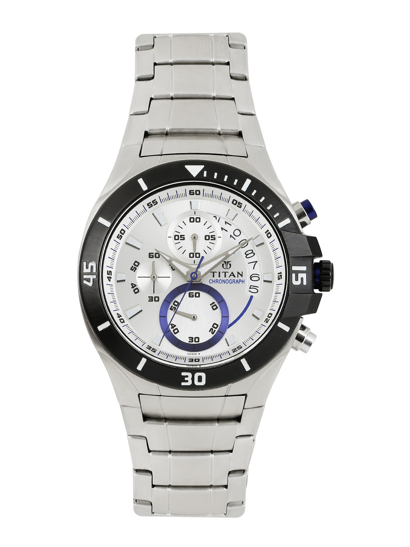e8880f838ed Titan 1631KM02 men silvertoned dial chronograph watch
