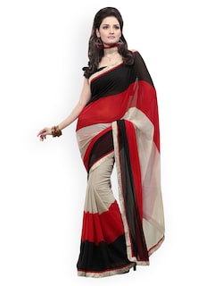 Parchayee Black & Red Saree