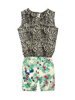 Oye Girls Black & White Printed Clothing Set