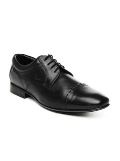 Ruosh Men Black Leather Semi-Formal Shoes