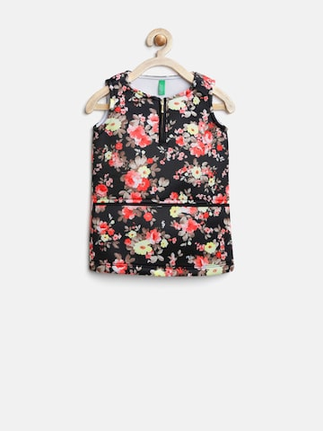 United Colors of Benetton Girls Black Floral Print Sheath Dress at myntra