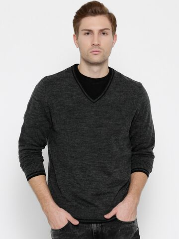 Flying Machine Charcoal Grey Sweater at myntra