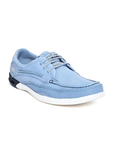Clarks Men Blue Suede Leather Sneakers at myntra