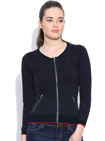 Pepe Jeans Navy Flecked Cardigan at myntra
