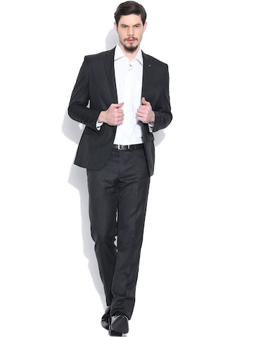 Van Heusen Charcoal Grey Single-Breasted Slim Formal Suit Van Heusen Suits at myntra