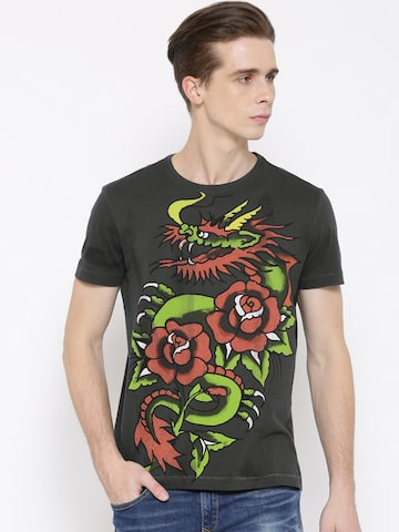 Ed Hardy Men Charcoal Grey Printed Round Neck T-shirt at myntra