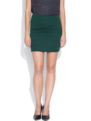 Vero Moda Green Mini Pencil Skirt at myntra