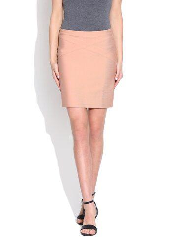 Vero Moda Peach-Coloured Pencil Skirt at myntra