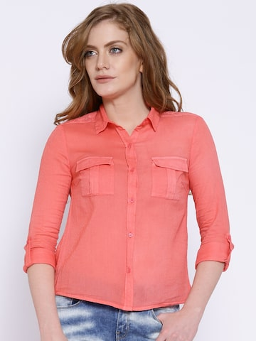 ONLY Peach-Coloured Shirt at myntra