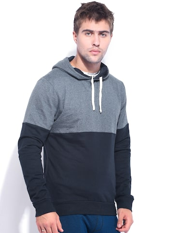 Campus Sutra Grey & Blue Hooded Sweatshirt at myntra