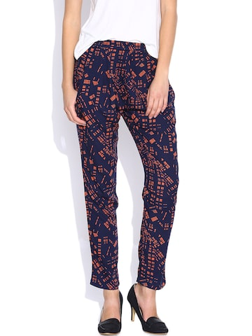 United Colors of Benetton Navy Printed Trousers at myntra