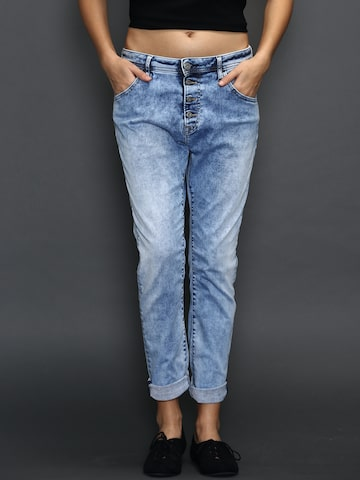 Replay Blue Washed Pilar Hyperflex Stretch Jeans at myntra