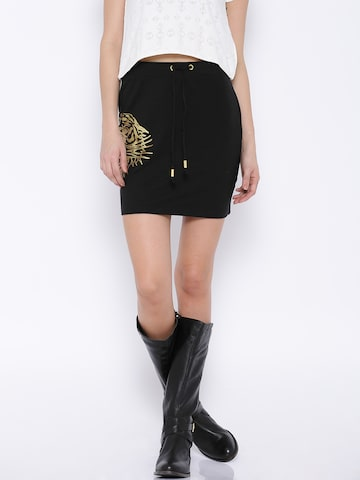 Ed Hardy Black Printed Mini Skirt at myntra