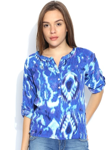 Flying Machine Blue Printed Top at myntra