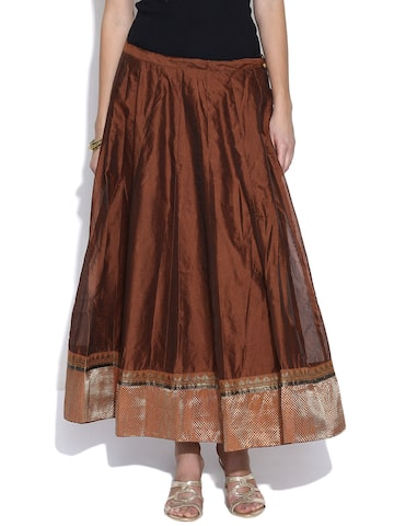 BIBA OUTLET Rust Brown Panelled Flared Maxi Skirt at myntra