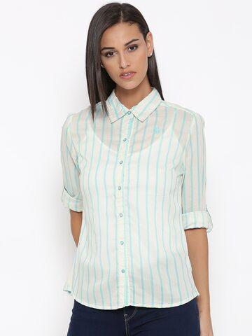 U.S. Polo Assn. Women Blue & White Striped Casual Shirt at myntra