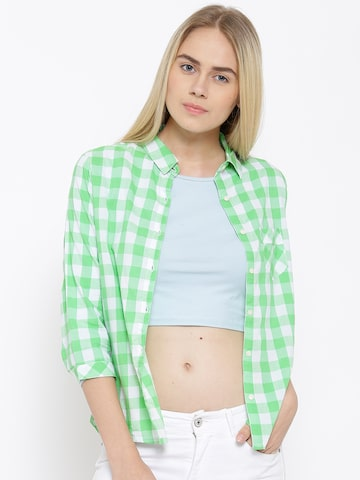 U.S. Polo Assn. Women Green & White Checked Casual Shirt at myntra